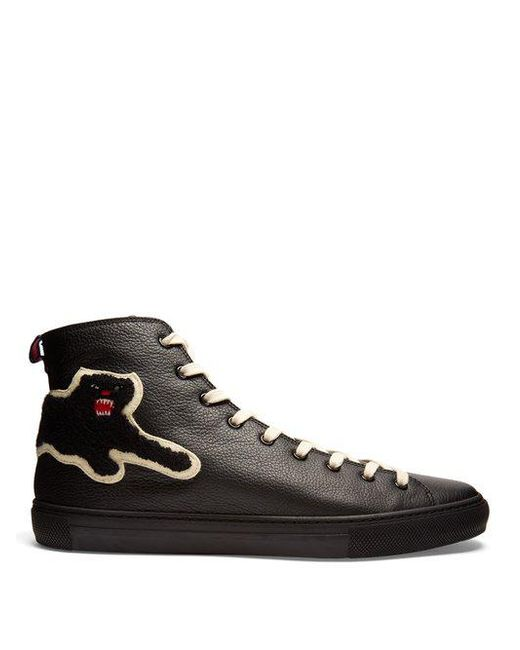 Gucci - Black Panther High-top Leather Trainers for Men - Lyst ...