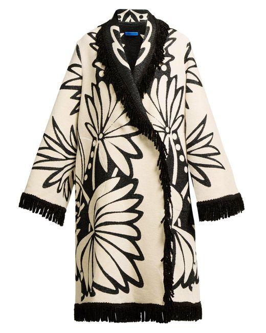 Marit Ilison - Multicolor Palm Intarsia Tasselled Cotton Coat - Lyst