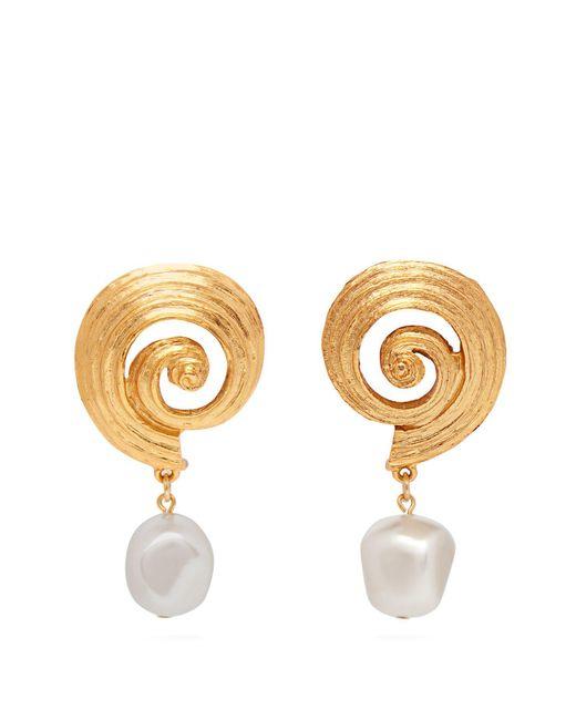 Oscar de la Renta - Metallic Bead-embellished Tassel-drop Earrings - Lyst