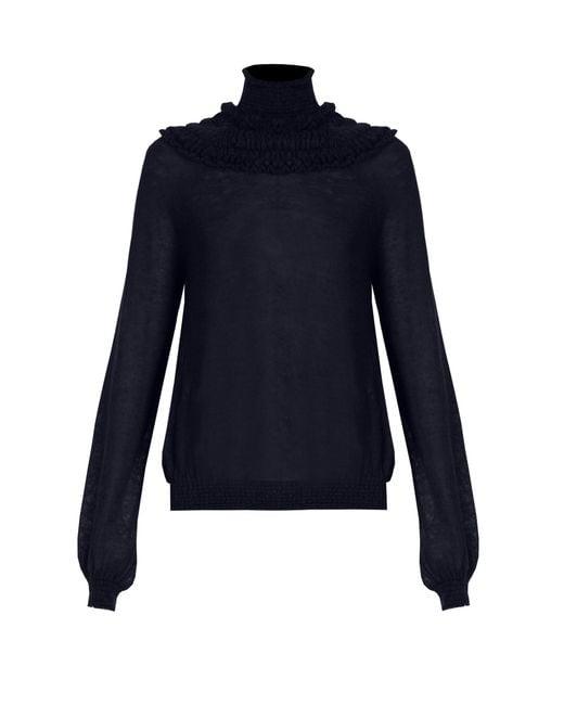 Chloé   Blue Gathered Semi-sheer Sweater   Lyst