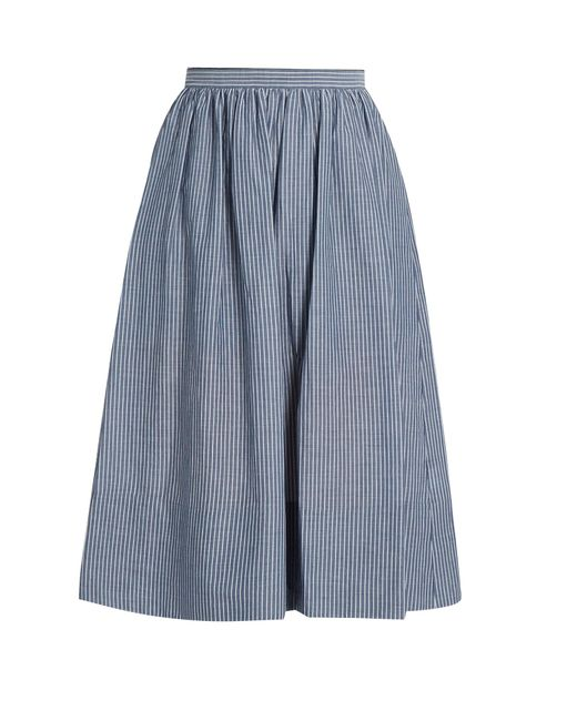Vince | Blue Striped Cotton Skirt | Lyst