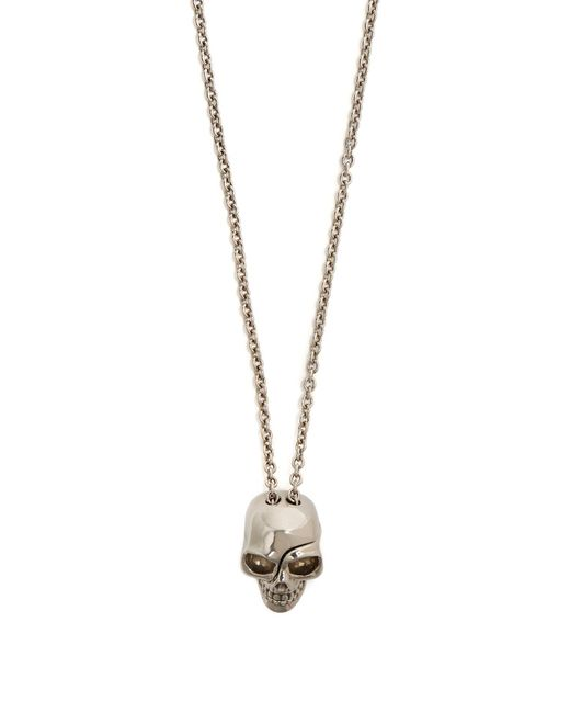 Alexander McQueen - Metallic Skull Embossed Medallion Necklace for Men - Lyst