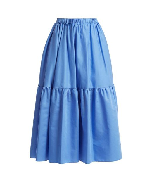 Stella McCartney - Blue Tanya Tiered Cotton Poplin Midi Skirt - Lyst