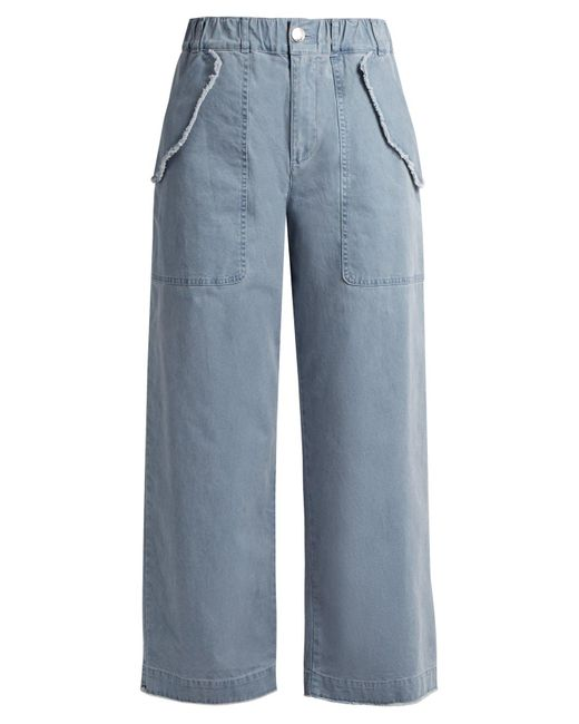See By Chloé - Blue High-waisted Wide-leg Cotton-blend Trousers - Lyst
