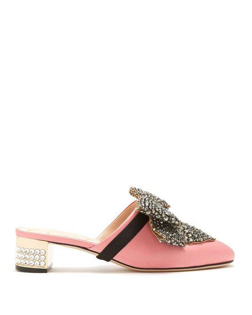 Gucci - Pink Crystal-embellished Satin Backless Loafers - Lyst
