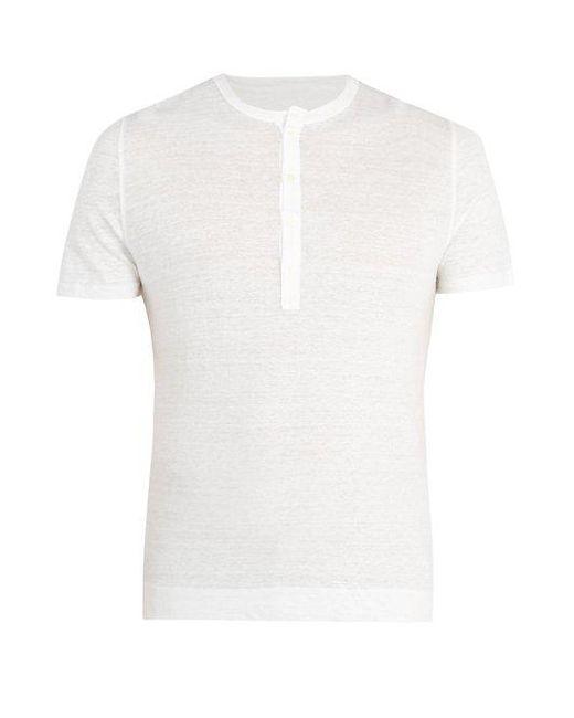 120% CASHMERE Slub Linen Henley T-shirt - White