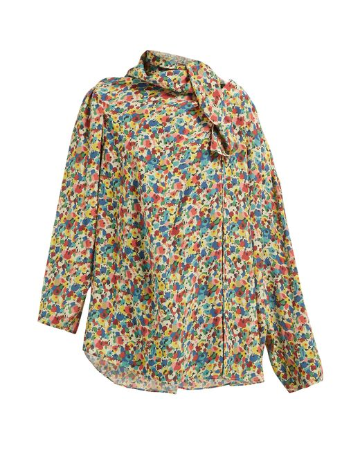 440f3fa19216 Balenciaga - Multicolor Floral Print Asymmetric Silk Crepe Blouse - Lyst ...
