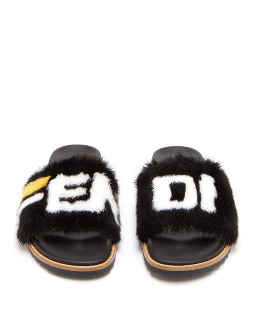 8588ce3c9 ... Fendi - Black Mania Mink And Leather Slides for Men - Lyst