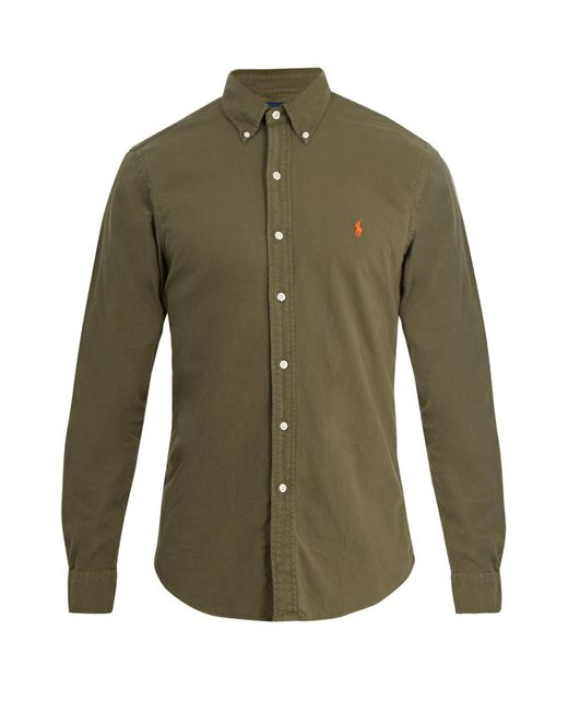 Polo Ralph Lauren | Green Logo-embroidered Cotton-oxford Shirt for Men | Lyst