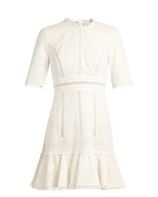 Zimmermann   White Caravan Ruffled-hem Embroidered Cotton Dress   Lyst