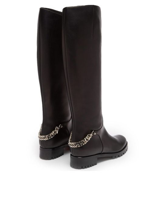 e24971097e39 ... Christian Louboutin - Black Croche Cate Knee High Leather Riding Boots  - Lyst ...
