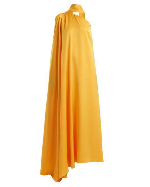 OSMAN - Yellow Lula One-shoulder Satin-back Crepe Gown - Lyst