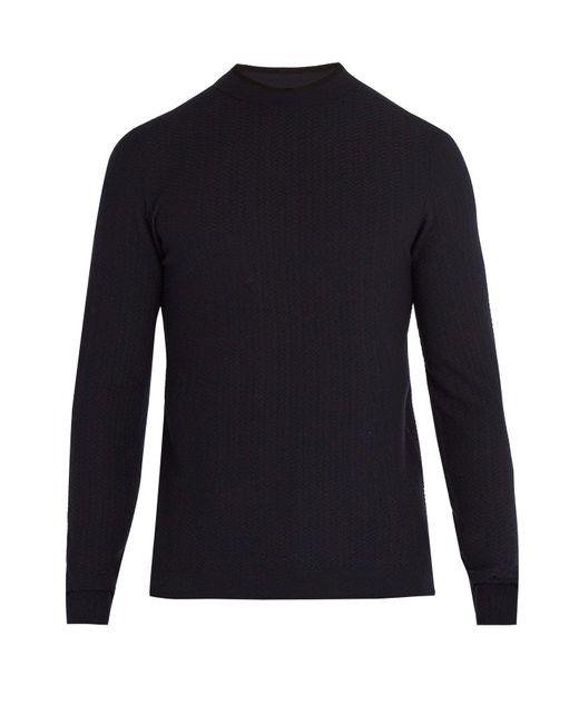 Giorgio Armani - Blue Herringbone Knit Sweater for Men - Lyst