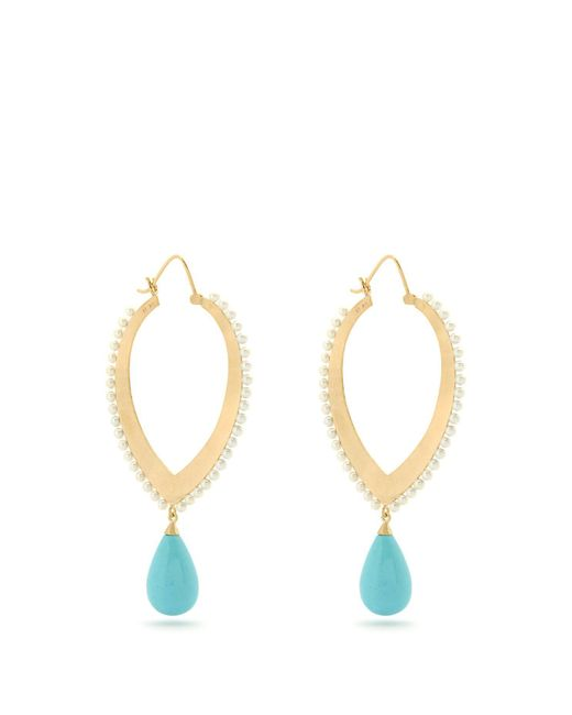 Irene Neuwirth - Blue Turquoise, Pearl & Yellow Gold Earrings - Lyst