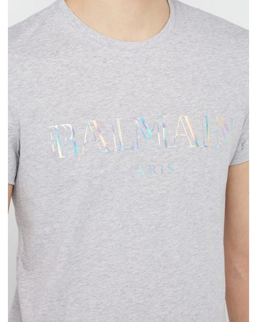 7d2adc27 ... Balmain - Gray Logo Print Cotton Jersey T Shirt for Men - Lyst