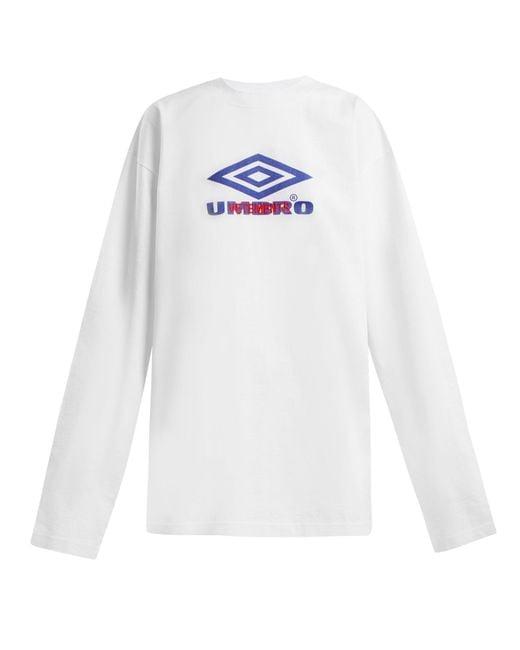 Vetements - White X Umbro Long-sleeved Cotton T-shirt - Lyst