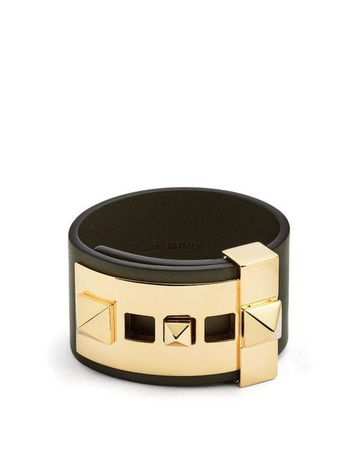 Valentino | Green Rockstud Wide Leather Band Bracelet | Lyst