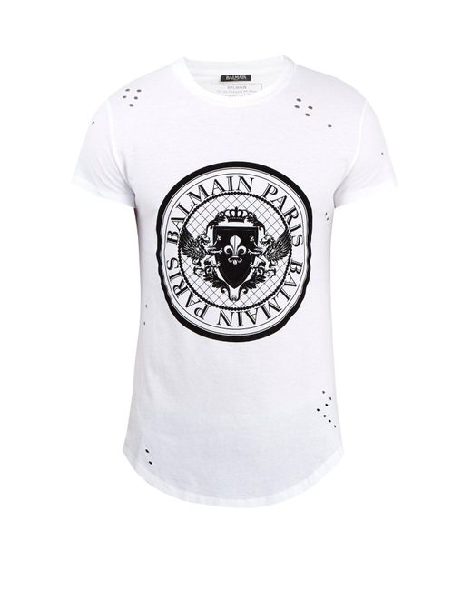 Balmain - White Circular Logo-print Distressed Cotton T-shirt for Men - Lyst