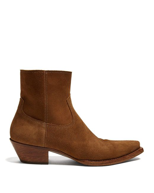 Saint Laurent - Brown Lukas Suede Ankle Boots for Men - Lyst