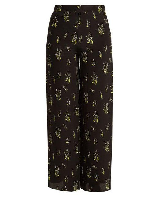Rockins - Black Skully Of The Valley-print Wide-leg Silk Trousers - Lyst