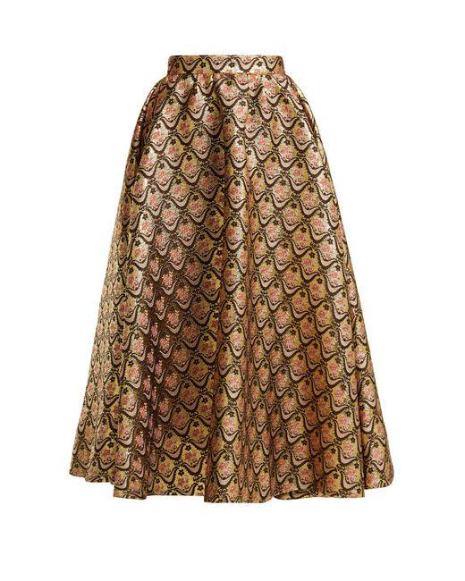 Rochas - Metallic Floral Brocade Midi Skirt - Lyst