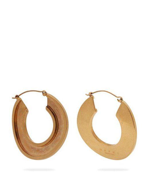 Marni - Metallic Open Hoop 24kt Gold Plated Earrings - Lyst