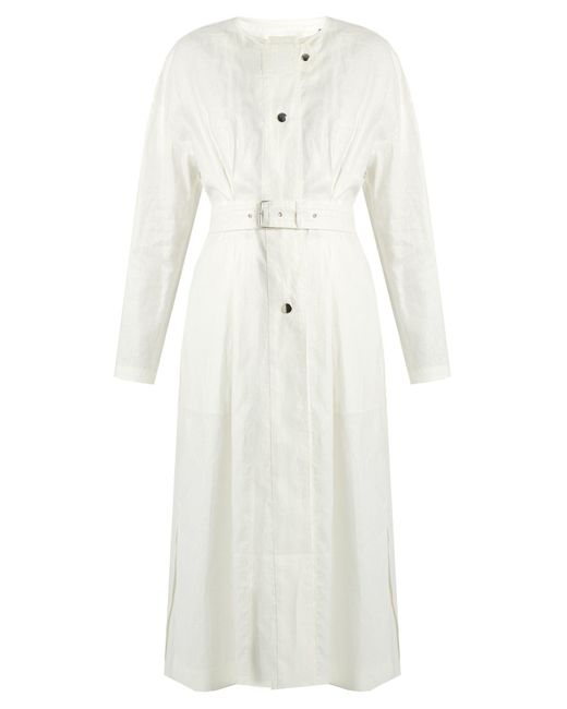 Isabel Marant - White Ivo Collarless Linen Coat - Lyst
