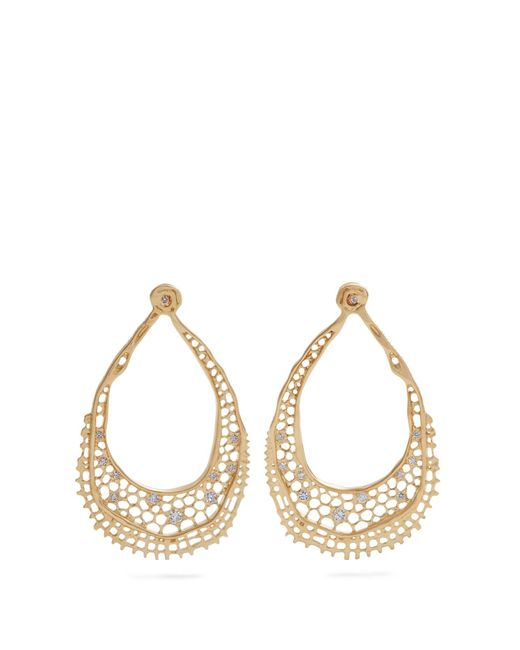 Aurelie Bidermann   Metallic Lace Diamond & Yellow-gold Earrings   Lyst