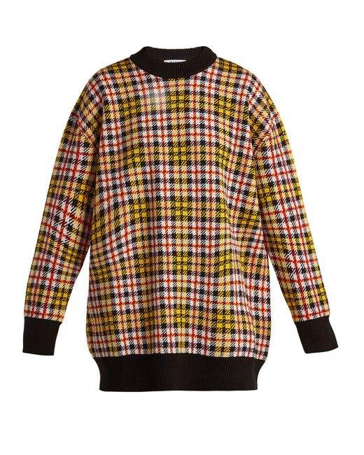 MSGM - Multicolor Checked Wool Blend Sweater - Lyst