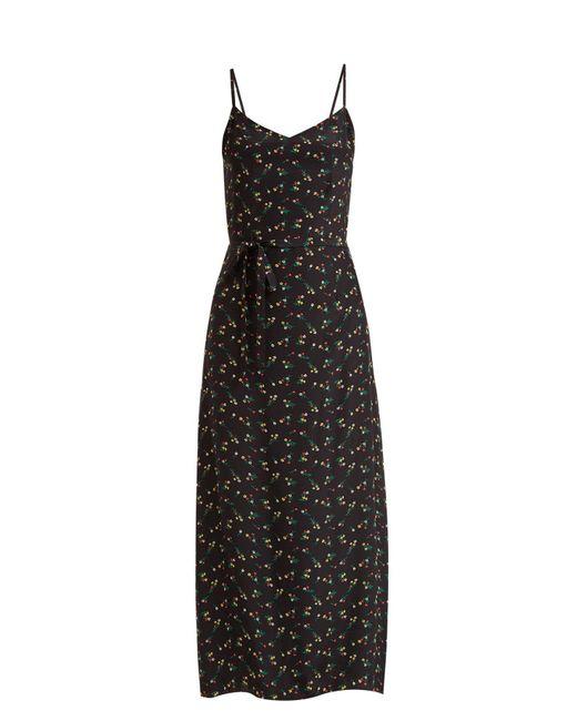 HVN - Black Josephine Floral-print Silk Long Dress - Lyst