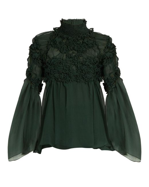 Chloé | Green Floral-Smocked Silk-Crepe Blouse | Lyst