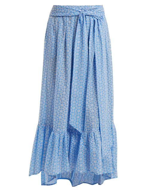 Lisa Marie Fernandez - Blue Floral Embroidered Cotton Skirt - Lyst