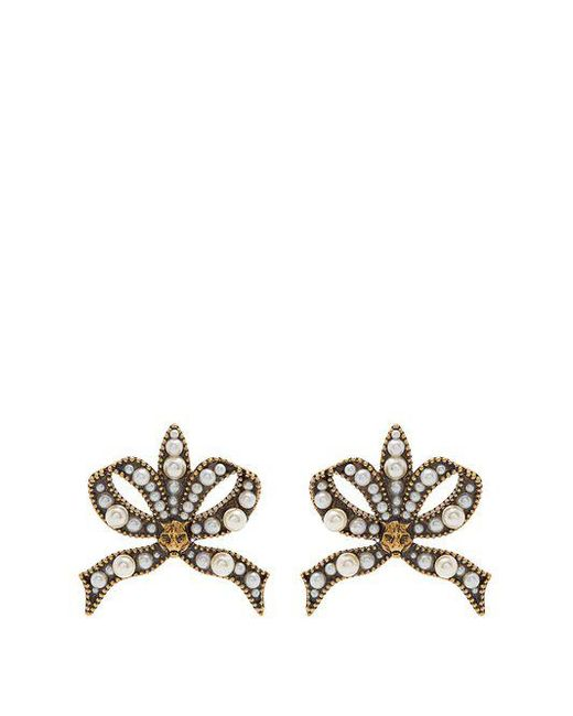 Gucci - Multicolor Faux Pearl And Feline Embellished Bow Earrings - Lyst