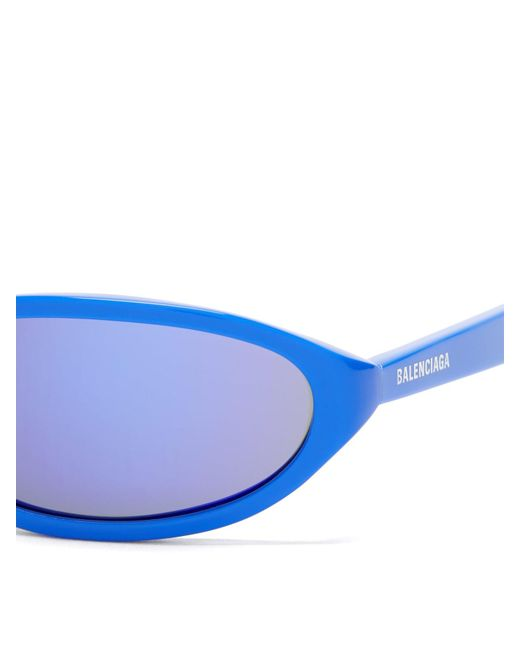 40e2cf6ac3 ... Balenciaga - Blue Neo Oval Frame Acetate Sunglasses for Men - Lyst