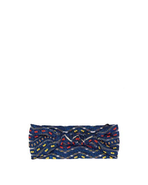 Missoni - Blue Zigzag Knit Headband - Lyst