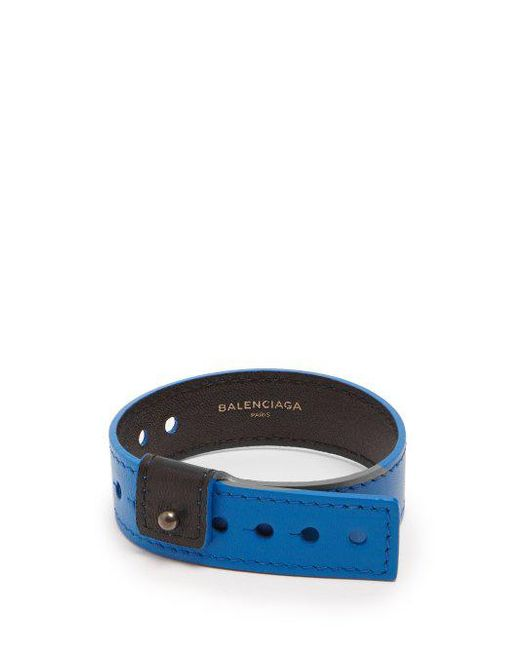 Balenciaga Logo-print Leather Bracelet - Blue 7bLVUwBOZ