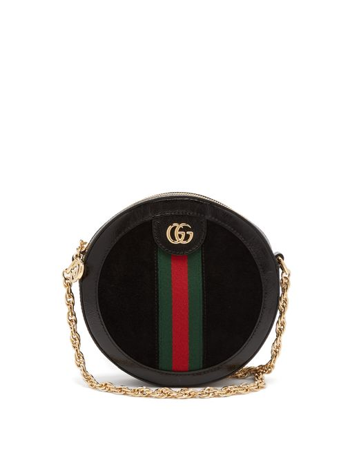 3175d1ba4da3 Sac bandoulière en cuir et daim Ophidia Gucci en coloris Noir - Lyst