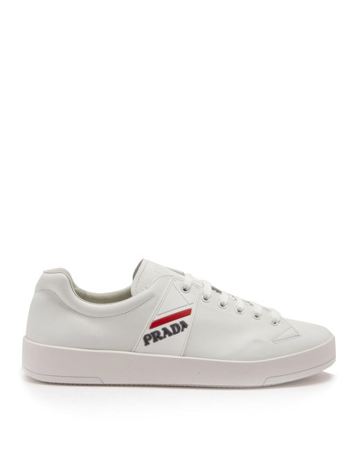 Prada - White Low Top Leather Trainers for Men - Lyst