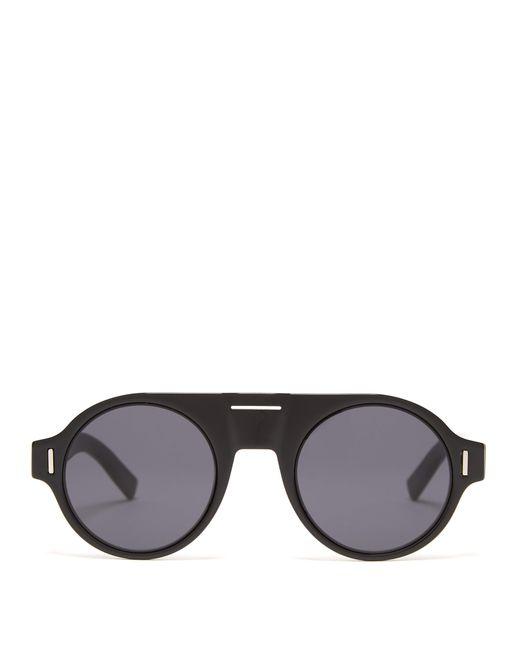 90d1b893b7 Dior Homme - Black Diorfraction2 Round Frame Acetate Sunglasses for Men -  Lyst ...