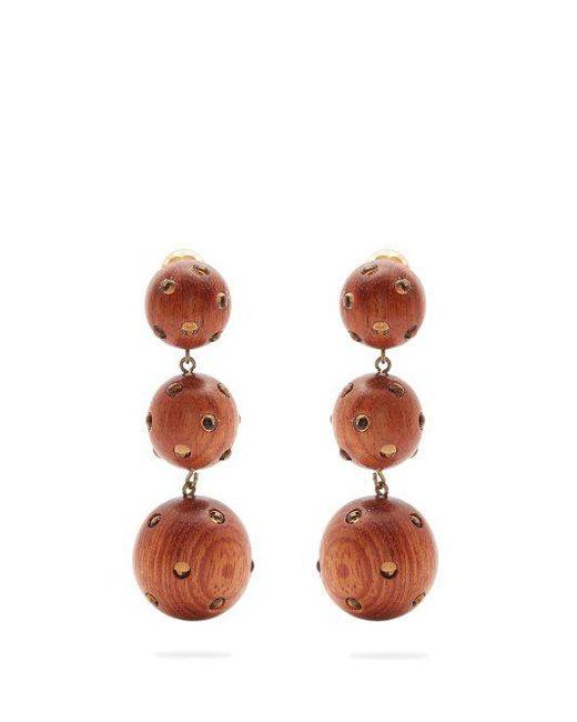 Marina wood clip-on earrings Rebecca de Ravenel 2H4AYcDV
