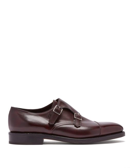 John Lobb - Brown William Double Monk Strap Leather Shoes for Men - Lyst