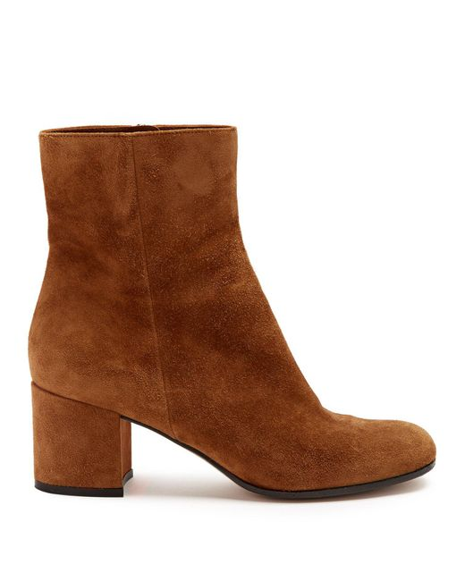 Gianvito Rossi - Brown Margaux 60 Suede Ankle Boots - Lyst