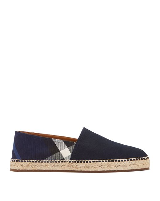 Burberry - Blue Checked Canvas Espadrilles for Men - Lyst
