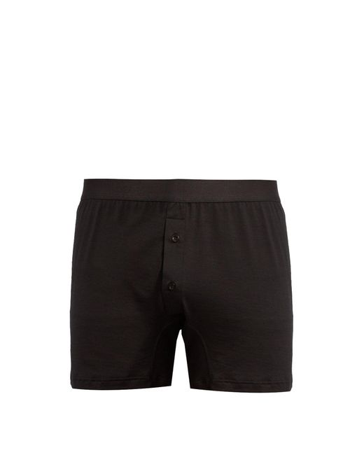 fdab31bcf1 Sunspel - Black Double Button Cotton Jersey Boxer Trunks for Men - Lyst ...