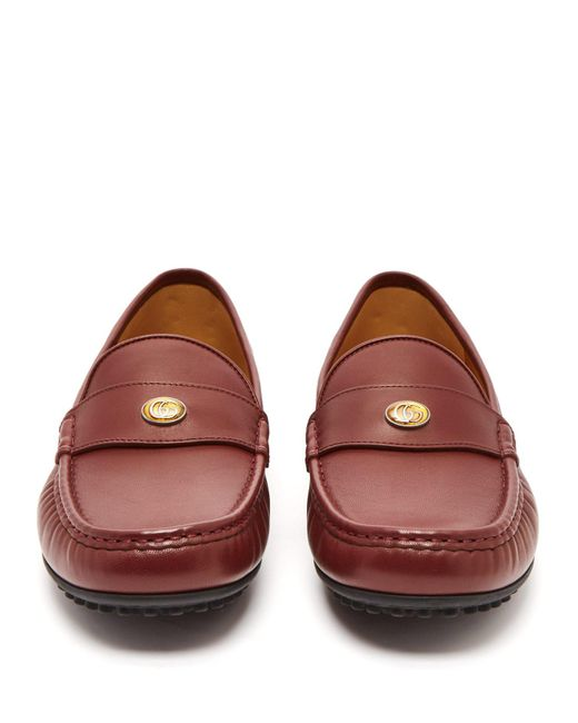 950b0ee8143 ... Gucci - Red Kanye Leather Loafers for Men - Lyst ...