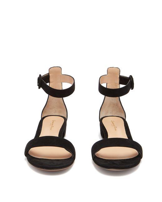 055b8684e9d ... Gianvito Rossi - Black Portofino 20 Block Heel Suede Sandals - Lyst