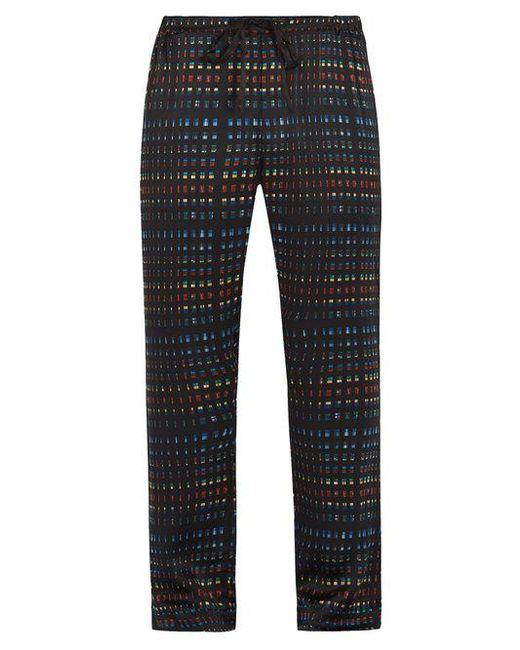 Meng - Black Rectangle-print Silk-satin Pyjama Trousers for Men - Lyst