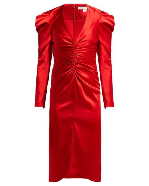 Jonathan Simkhai Red Puff Sleeve Ruched Satin Midi Dress