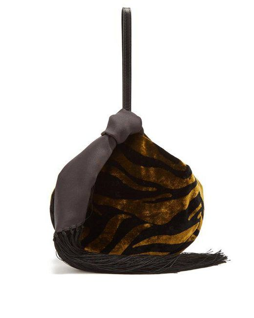 Lantern Zebra-print Velvet And Leather Pouch - Gold Hillier Bartley CuyzsfwS