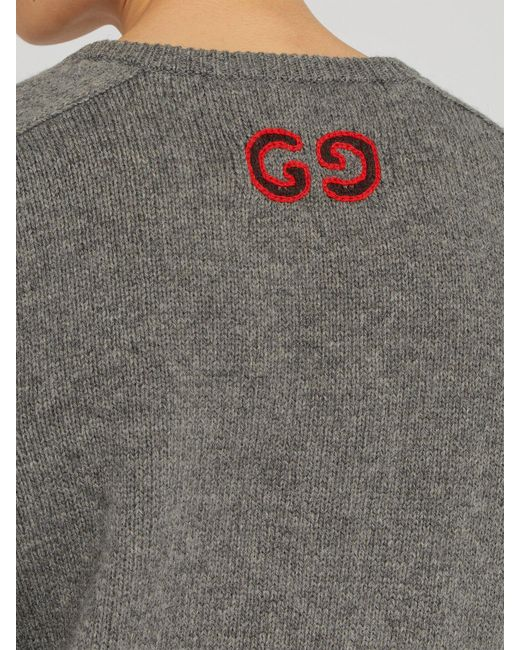 4ff475943 ... Gucci - Gray Gg Embroidered Wool Blend Sweater for Men - Lyst